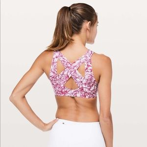 Lululemon Enlite Sports Bra Floral Pink White 34DD